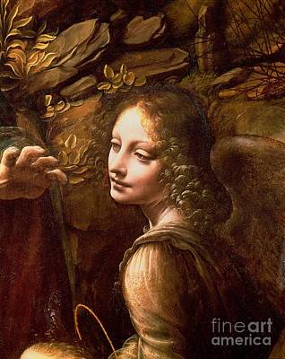 Detail Of The Angel From The Virgin Of The Rocks  Art Print by Leonardo Da Vinci