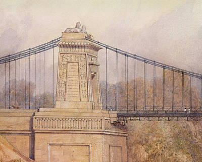Architecture Drawing - Detail Of The Approved Design For The Clifton Suspension Bridge by Samuel Jackson