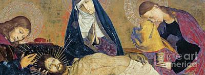 Tear Painting - Detail Of The Avignon Pieta by Enguerrand Quarton