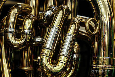 Note Photograph - Detail Of The Brass Pipes Of A Tuba by Jane Rix