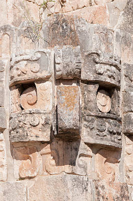 Digital Art - Detail Of The Magicians House In Uxmal by Carol Ailles