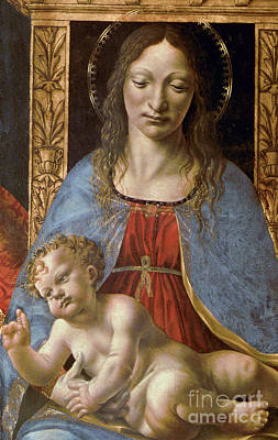 Altar Art Painting - Detail Of The Sforza Altarpiece, Madonna And Child Enthroned by Master of the Pala Sforzesca