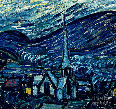 Steeple Painting - Detail Of The Starry Night by Vincent Van Gogh
