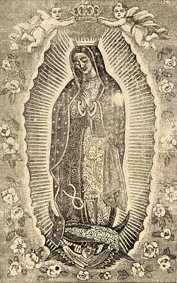 Marian Photograph - Detail Of The Virgin Of Guadalupe by Everett