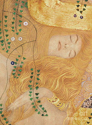 Nap Painting - Detail Of Water Serpents I by Gustav Klimt