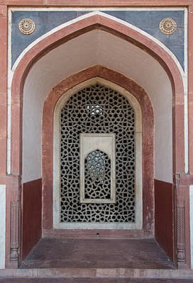 Tomb Photograph - Detail Of Window Arches In Humayuns by Panoramic Images