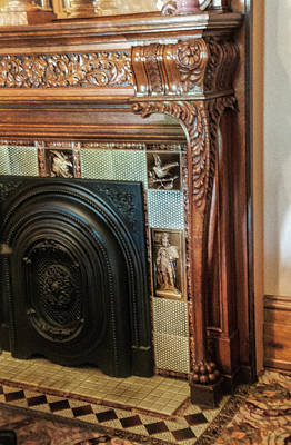 Photograph - Detail Of Wood Carving And Tiles - Historic Fireplace by Phyllis Taylor