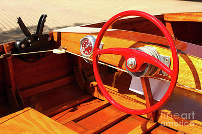 Photograph - Detail Of Wood Speed Boat With Bright Red Steering Wheel  by Susan Vineyard