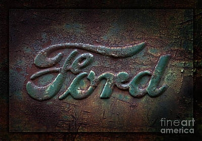 Rusty Cars Wall Art - Photograph - Detail Old Rusty Ford Pickup Truck Emblem by John Stephens