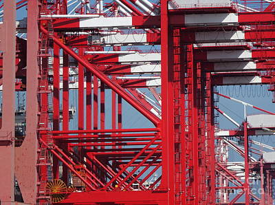 Photograph - Detail View Of A Row Container Loading Cranes by Yali Shi