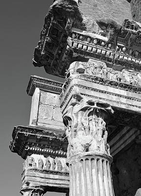 Photograph - Detail View Of Sculptured Figures On Le Colonnacce In Rome Italy Black And White by Shawn O'Brien