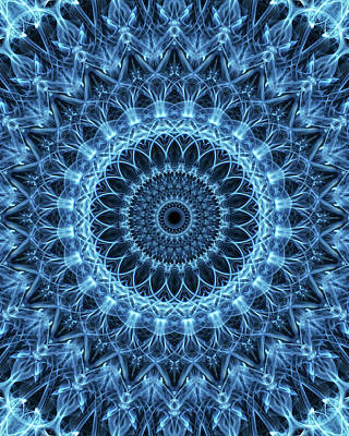 Photograph - Detailed Mandala In Light Blue Tones by Jaroslaw Blaminsky