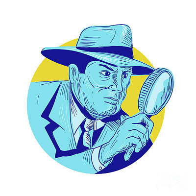 Police Officer Digital Art - Detective Holding Magnifying Glass Circle Drawing by Aloysius Patrimonio