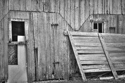 Deteriorated Side Of The Barn In Black And White Art Print by William Sturgell