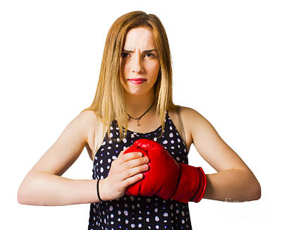 Kickboxing Photograph - Determined Fitness Girl On White Background by Jorgo Photography - Wall Art Gallery