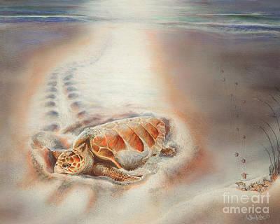 Hawaii Sea Turtle Painting - Mother's Heart  by Lynne Barletta