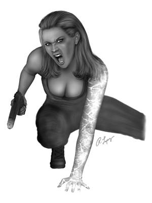 Drawing - Determined To Win Black And White Female Fantasy Art by Raphael Lopez