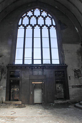 Detroit Abandoned Buildings Photograph - Detroit Abandoned Church Window by John McGraw