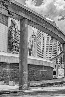 Photograph - Detroit And People Mover Black And White  by John McGraw