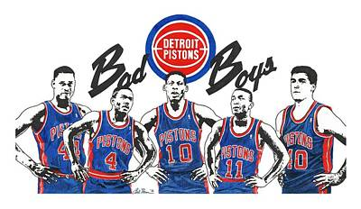 Mixed Media - Detroit Bad Boys Pistons by Chris Brown