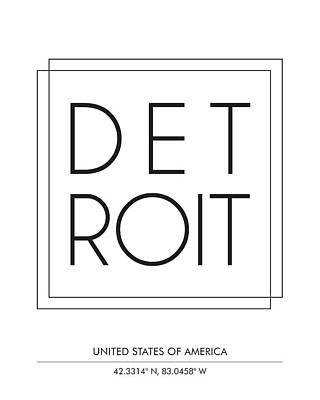 Mixed Media - Detroit, United States Of America - City Name Typography - Minimalist City Posters by Studio Grafiikka