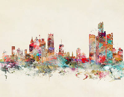Painting - Detroit City Skyline by Bleu Bri