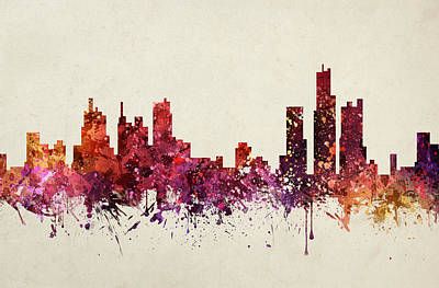 Detroit Drawing - Detroit Cityscape 09 by Aged Pixel