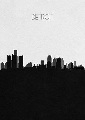 Digital Art - Detroit Cityscape Art by Inspirowl Design