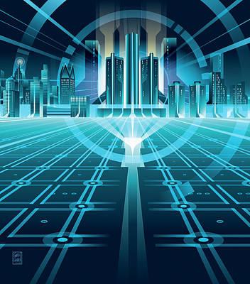 Tron Wall Art - Digital Art - Detroit Fiber Wars by Garth Glazier