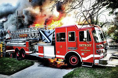 Photograph - Detroit Fire Dept Ladder Truck 17 by Scott Bert