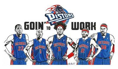 Auburn Drawing - Detroit Goin' To Work Pistons by Chris Brown
