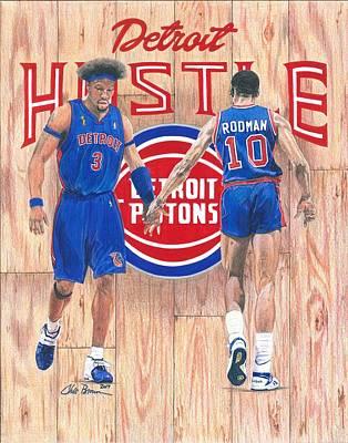 Big Ben Drawing - Detroit Hustle - Ben Wallace And Dennis Rodman by Chris Brown