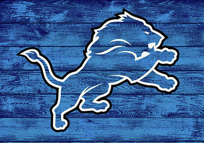 Tate Mixed Media - Detroit Lions Barn Door by Dan Sproul