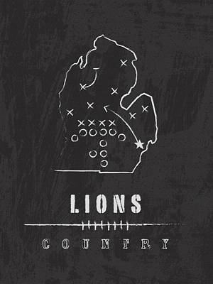 Football Digital Art - Detroit Lions Art - Nfl Football Wall Print by Damon Gray