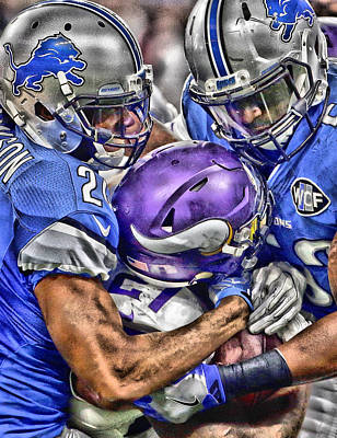 Mixed Media - Detroit Lions Team Art by Joe Hamilton