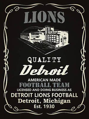 Mixed Media - Detroit Lions Whiskey by Joe Hamilton