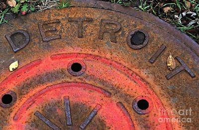 Detroit Manhole Cover Spray Painter Red Art Print by Sandra Church