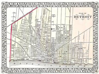 Michigan Drawing - Detroit Michigan 1873 Map by Movie Poster Prints
