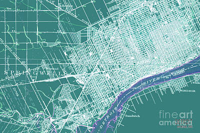 Royalty-Free and Rights-Managed Images - Detroit Michigan 1905 old vintage colorful map by Drawspots Illustrations