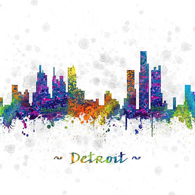 Towns Digital Art - Detroit Michigan Color 03sq by Aged Pixel