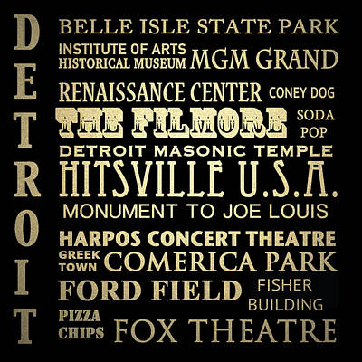 Detroit Michigan Famous Landmarks Art Print