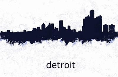 Greenwich Village Drawing - Detroit Michigan Skyline D  by Enki Art