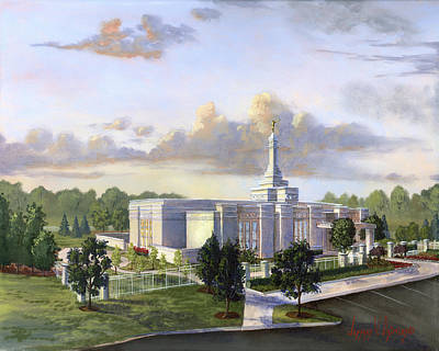 Blue Angels Painting - Detroit Michigan Temple by Jeff Brimley