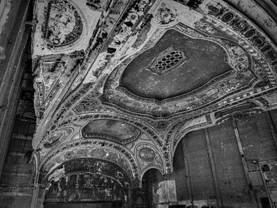 Michigan Theatre Photograph - Detroit - Michigan Theatre 001 Bw by Lance Vaughn