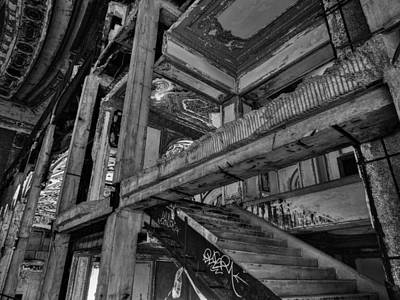 Photograph - Detroit - Michigan Theatre 002 Bw by Lance Vaughn