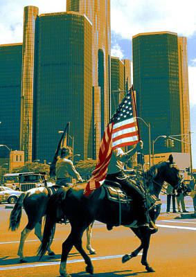 Photograph - Detroit Parade With American Flag by Peter Potter