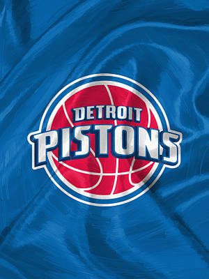 Uniforms Digital Art - Detroit Pistons by Afterdarkness