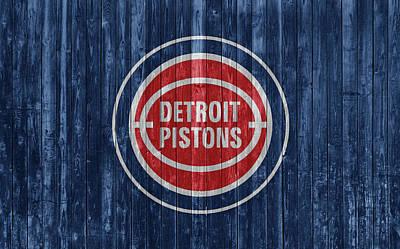Mixed Media - Detroit Pistons Barn Door by Dan Sproul