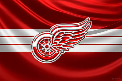 Hockey Art Digital Art - Detroit Red Wings - 3 D Badge Over Silk Flag by Serge Averbukh