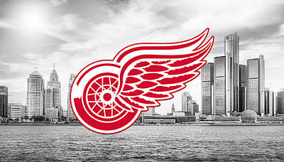 Digital Art - Detroit Red Wings Artwork  by Nicholas Legault